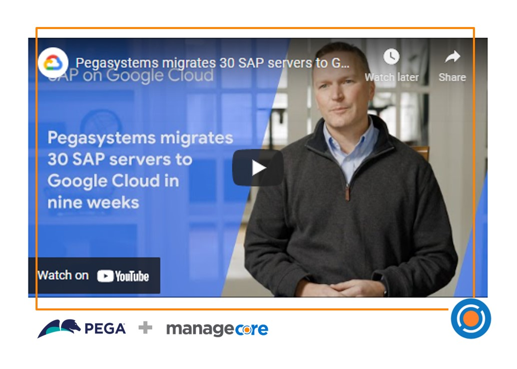 Managecore Customer Pega migrates 30 SAP servers to Google Cloud in 9 weeks